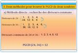 Ressource pour tableau interactif : Arithmétique : PGCD